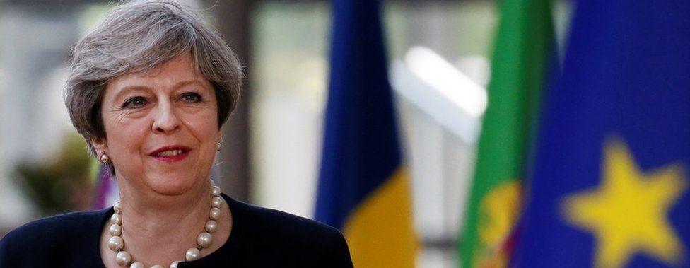 Theresa May arrives at EU summit on 22 June