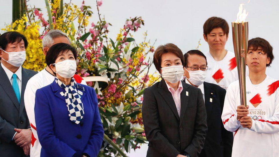 Japanese officials at start of torch relay in Fukushima