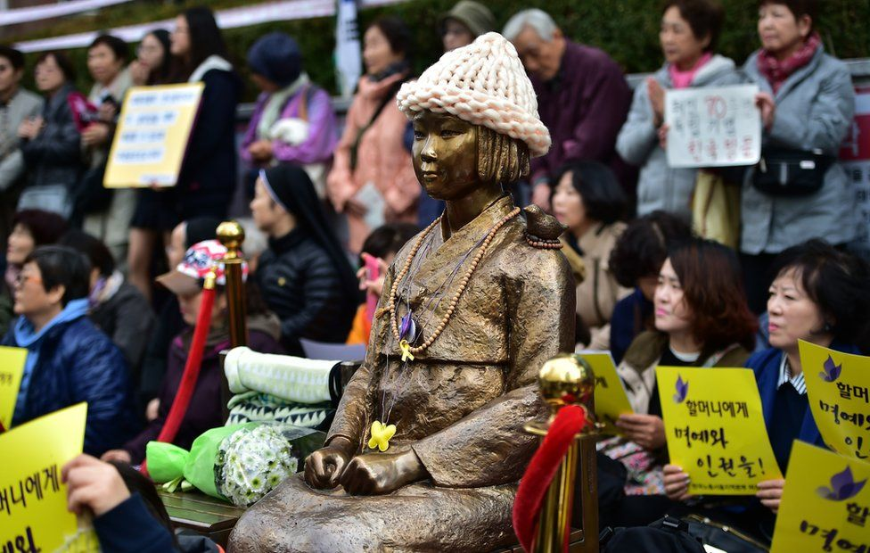 Protesters sit next to a statue (C) of a South Korean teenage girl in traditional costume called the 'peace monument' for former 'comfort women' who served as sex slaves for Japanese soldiers during World War Two, during a weekly anti-Japanese demonstration near the Japanese embassy in Seoul on 11 November 2015.