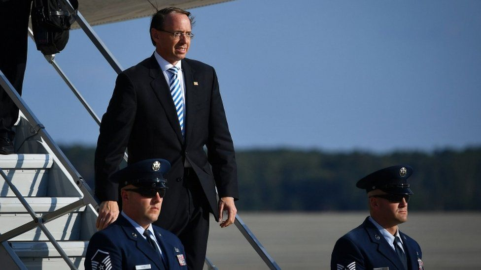 Deputy Attorney General Rod Rosenstein on the stairs of Air Force One