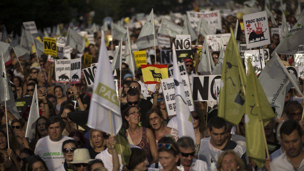 Protest against bullfighting in Madrid. 10 Sept 2016