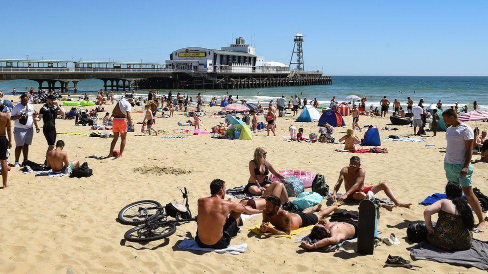 Groups on Bournemouth beach