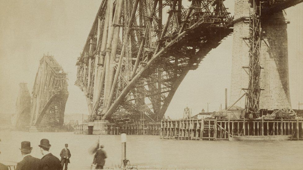 Forth Bridge under construction