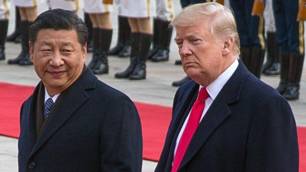 Trump and Xi walk together