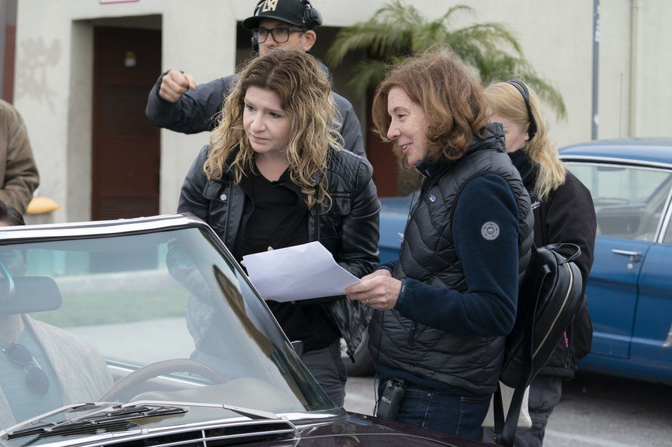 Alicia Rodis with director Susana White on set of The Deuce