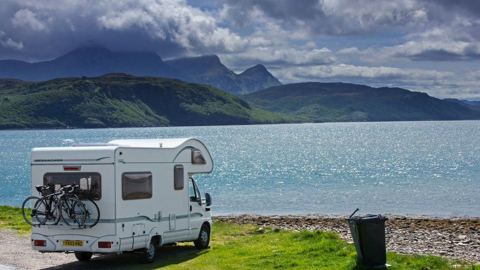 Campervan at Kyle of Tongue in north-west Highlands