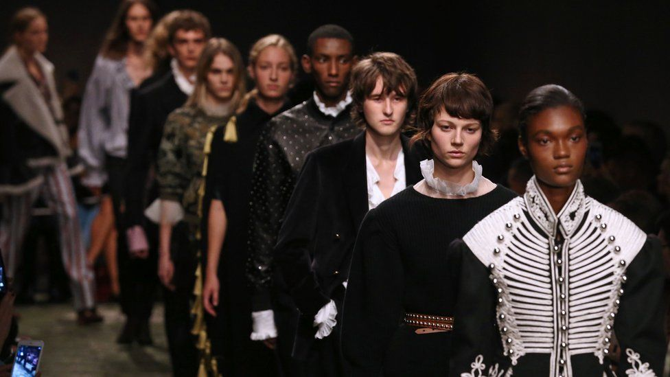 Burberry models at London Fashion Week