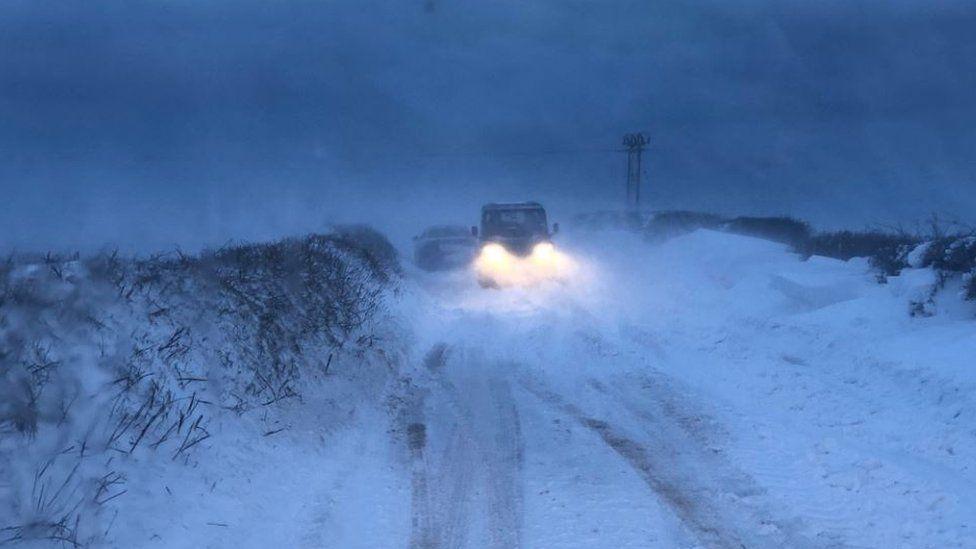 Drifting snow in Devon