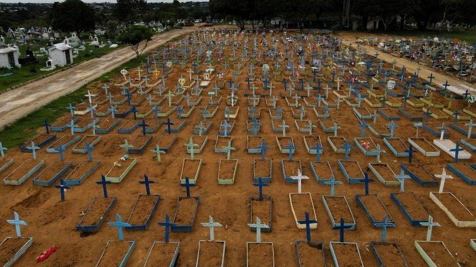 An aerial view of the Parque Taruma cemetery amid the coronavirus disease (COVID-19) outbreak, in Manaus, Amazonas state, Brazil February 25, 2021.