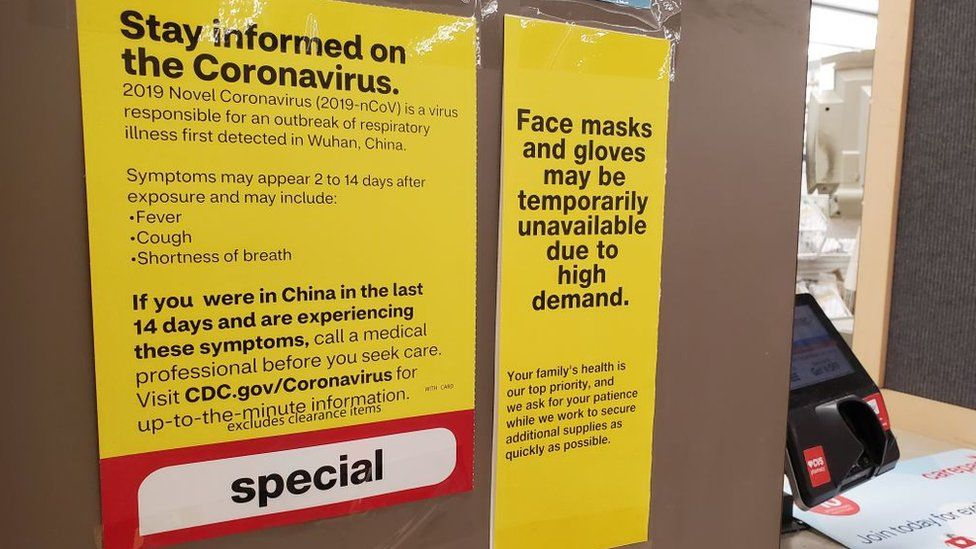 A pharmacy in California warns of shortages in gloves and masks