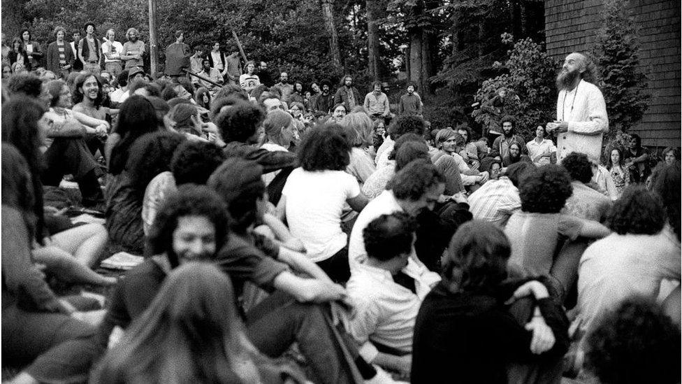 American spiritual teacher Baba Ram Dass (Richard Alpert) gives a speEch during The Alternative Media Conference IN 1970