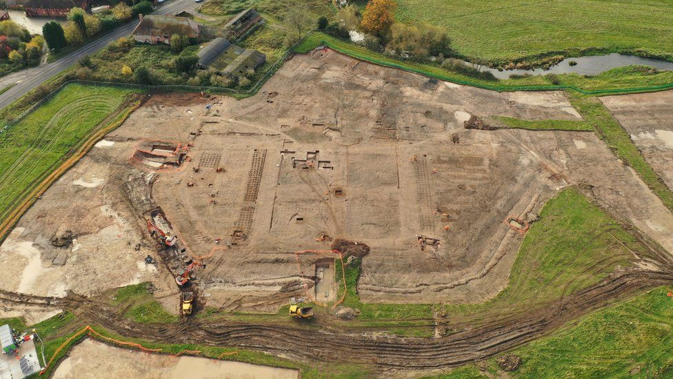 Aerial view of the excavations