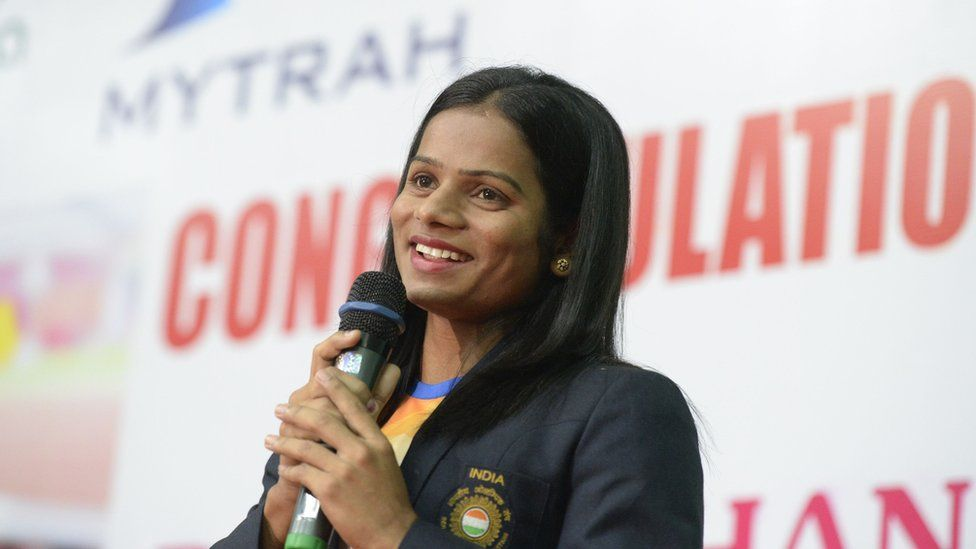Indian sprinter Dutee Chand speaks during a press conference in Hyderabad