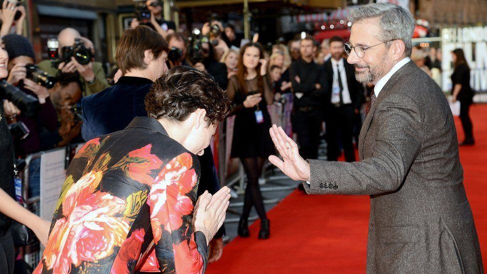 Timothee Chalamet and Steve Carell at the UK premiere of A Beautiful Boy