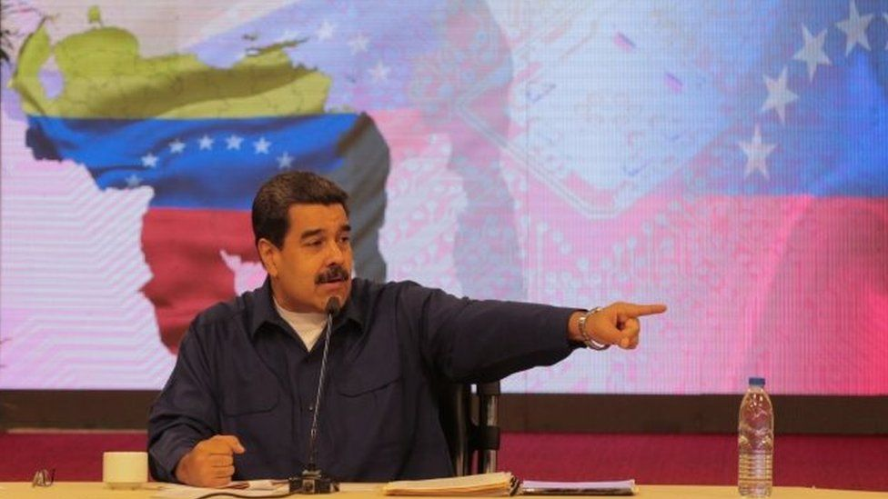 President Nicolas Maduro speaks during a meeting with governors and members of the government in Caracas, Venezuela October 23, 2017.
