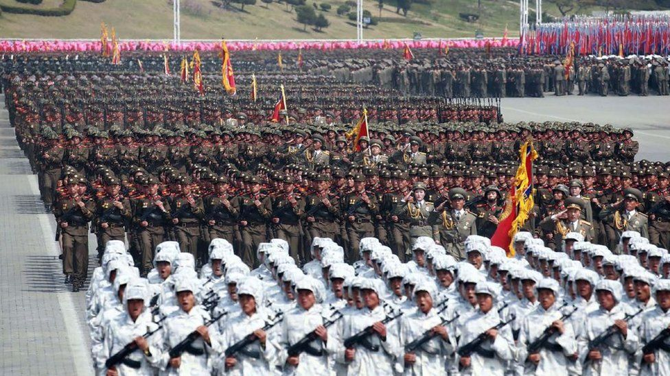 Korean People's Army soldiers parading