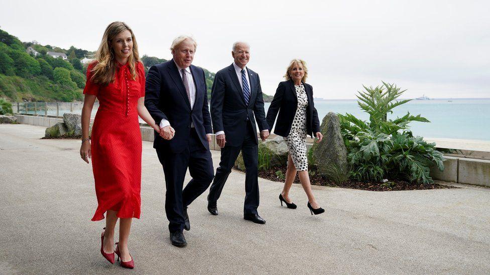 Carrie and Boris Johnson met Joe and Jill Biden