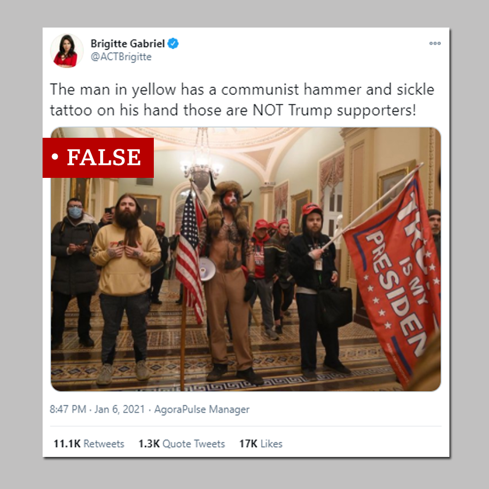 False social media post claiming Antifa involved in storming the Capitol