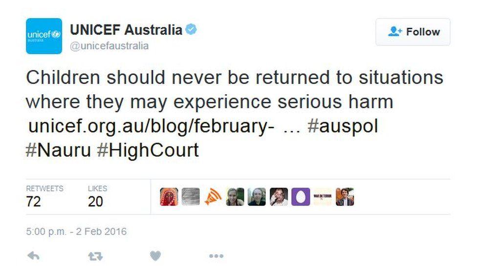 Screenshot of tweet by Unicef Australia on 3 February 2016