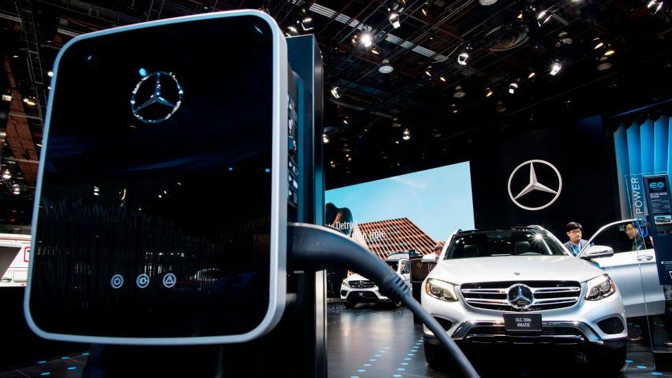An electric charging station is pictured at the Mercedes-Benz booth during the 2018 North American International Auto Show (NAIAS) in Detroit, Michigan, on January 15, 2018