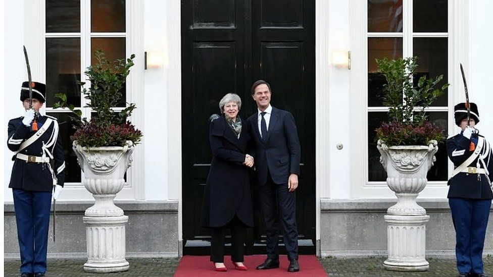 Theresa May with Dutch Prime Minister Mark Rutte in the Hague