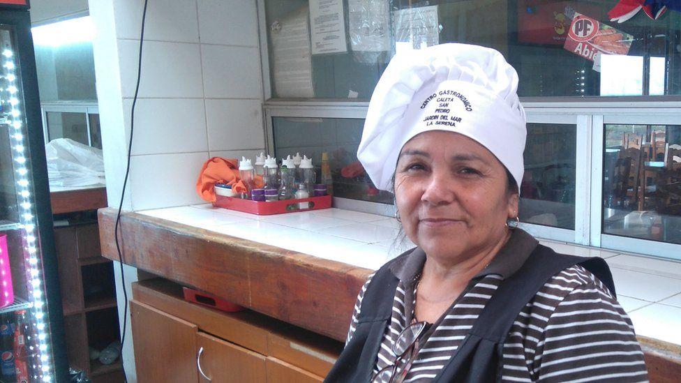 Doña Juanita in her restaurant