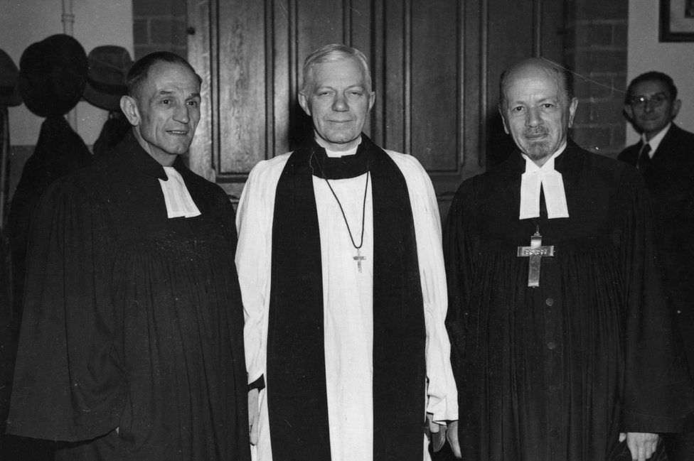 George Bell (centre) with German Reverends Dr. Martin Niemoeller (left) and Otto Dibelius