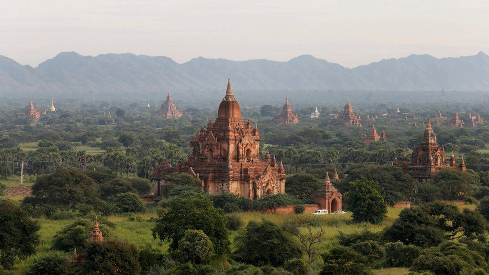 Wide shot of the plains of Bagan, showing dozens of historic monuments on the horizon. 10 November 2015.