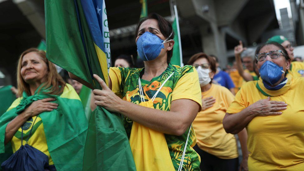 Supporters of Brazilian President Jair Bolsonaro participate in a demonstration in Sao Paulo on 15 March