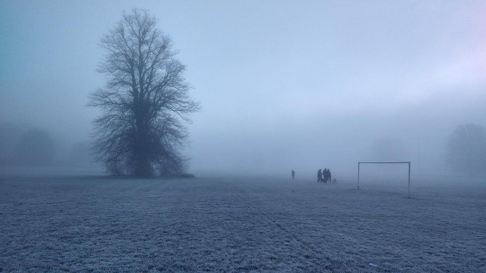 A frosty and foggy park
