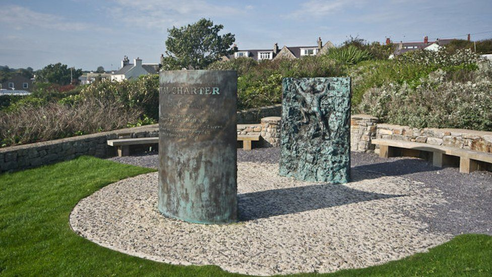 The memorial to the disaster outside the Moelfre Seawatch Centre
