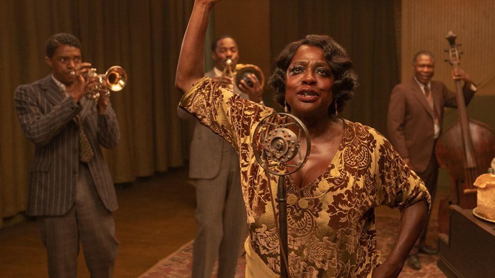 Chadwick Boseman (left) and Viola Davis in Ma Rainey's Black Bottom