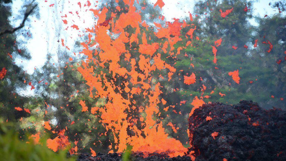 Flying lava chunks