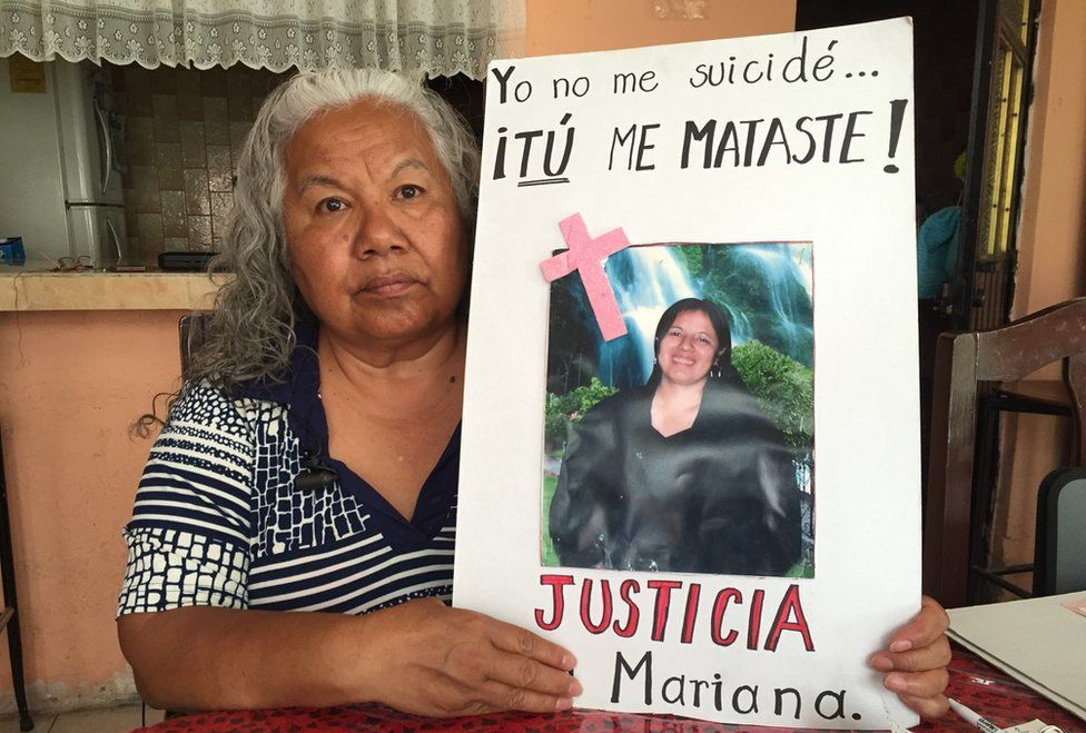 Irinea Buendia with a picture of her daughter Mariana and writing in Spanish around it