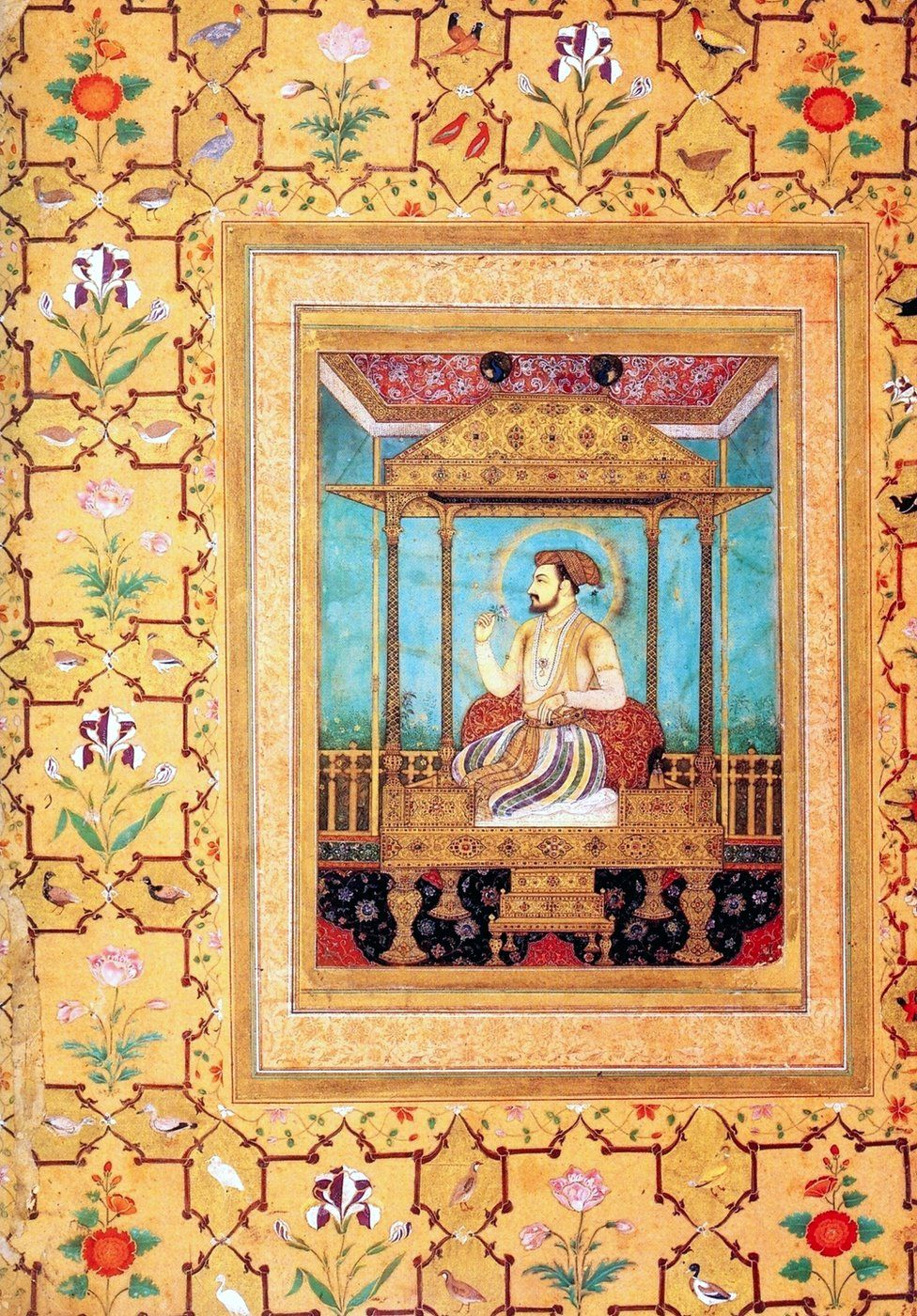 Shah Jahan seated on his richly jewelled Peacock Throne.