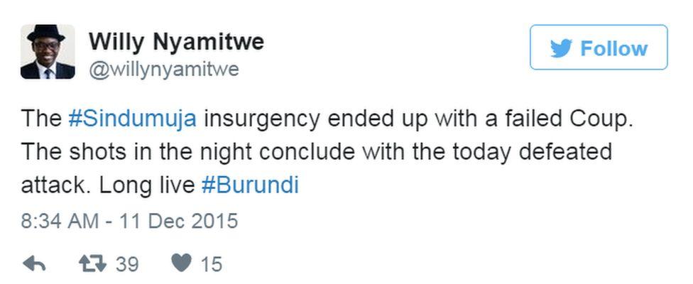 Tweet from Willy Nyamitwe