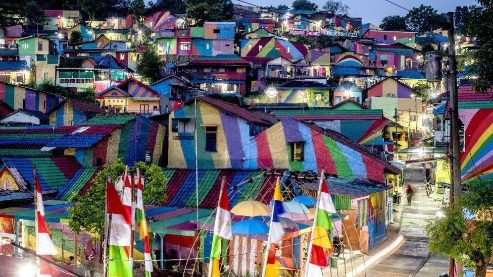 """""""the rainbow village"""" in Semarang, central Java, attracts hordes of visitors."""