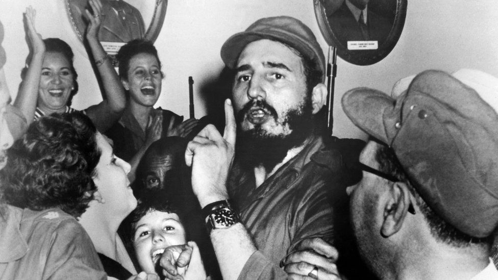 Cuban leader Fidel Castro shortly after toppling dictator Fulgencio Batista, during the revolutionary triumph, in Cienfuegos, Cuba on 4 January 1959