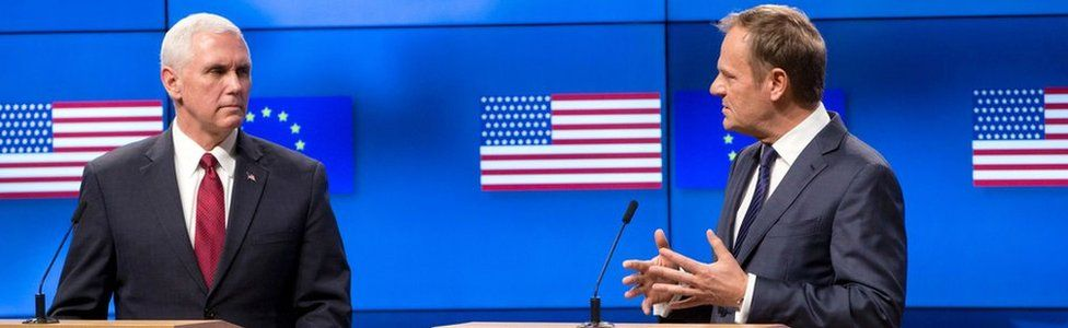 US Vice-President Mike Pence (L) and European Council head Donald Tusk (R) give a press conference at the European Commission in Brussels on February 20, 2017.