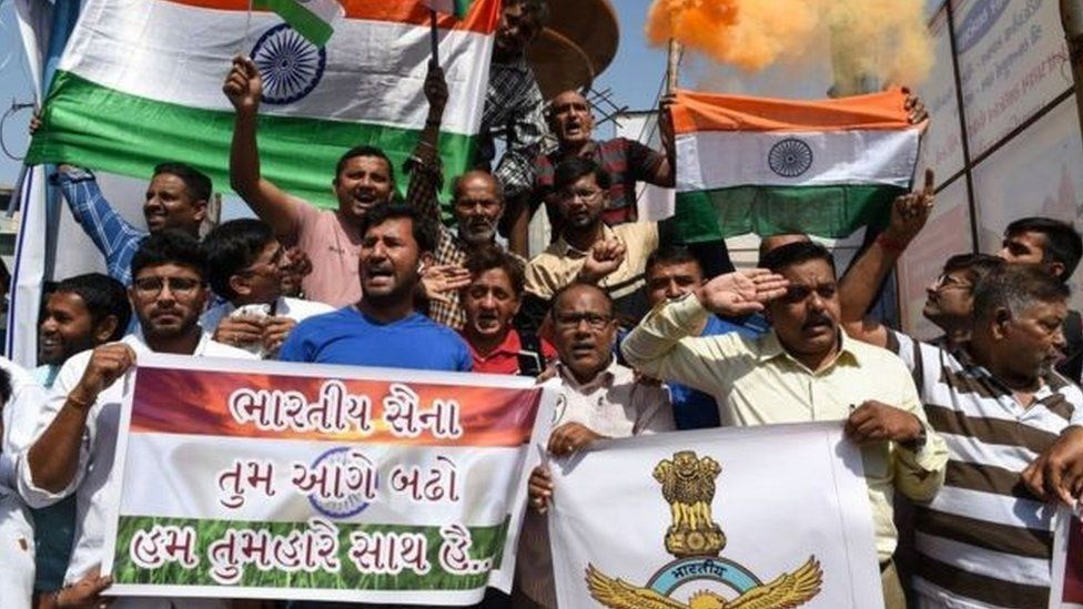 Indians celebrated on hearing news of the strikes