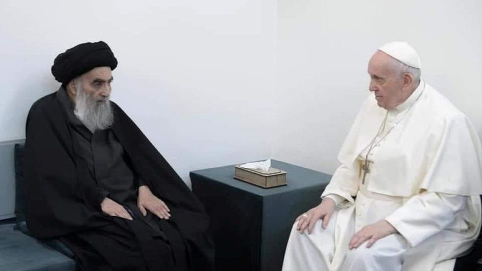 Grand Ayatollah Ali al-Sistani with Pope Francis in Najaf, Iraq, 6 March