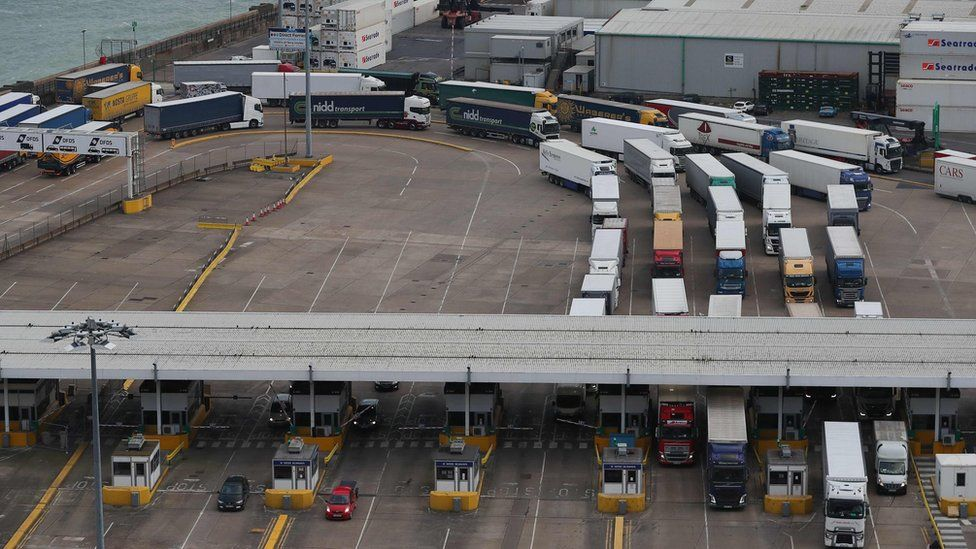 Lorries queuing at Dover