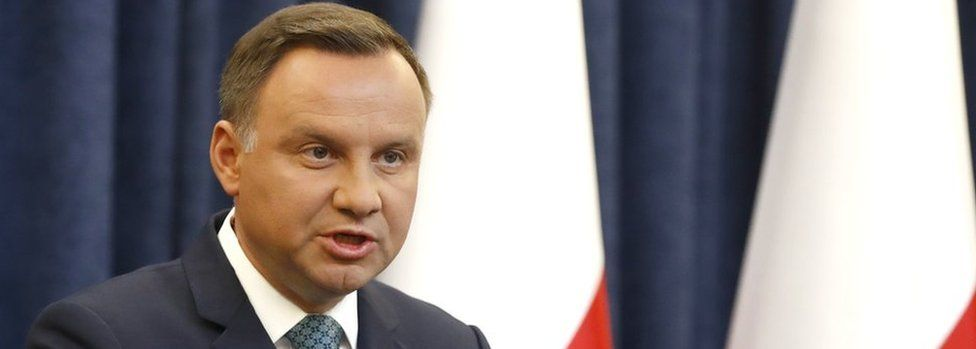 Polish President Andrzej Duda gives a televised statement on 24 July