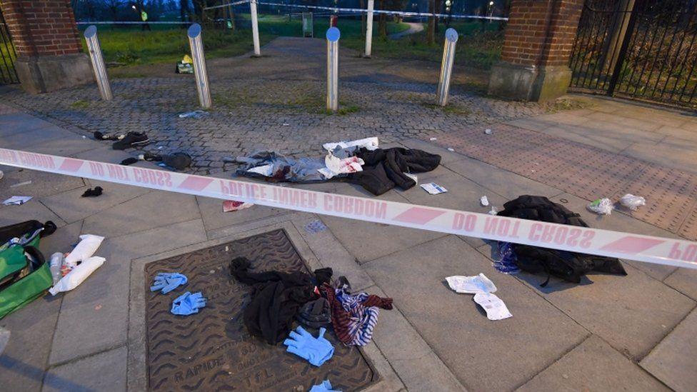 Scene of the stabbings in Mile End