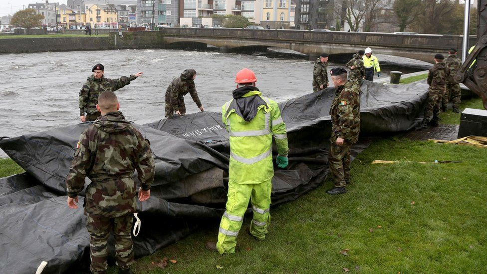 Flood barriers are readied in Galway City