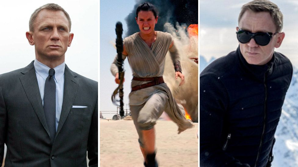 Daniel Craig in Skyfall (left) and Spectre (right), and Daisy Ridley in Star Wars: The Force Awakens