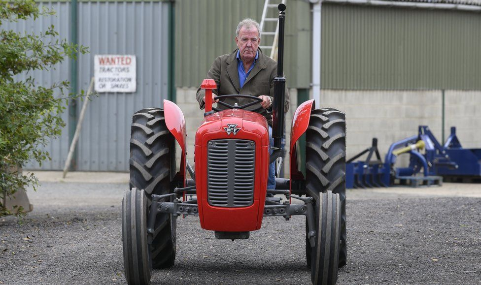 Jeremy Clarkson on a tractor