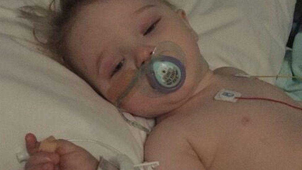 Amy Walkden in hospital last year
