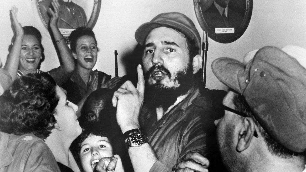 Fidel Castro celebrates toppling Cuban leader Fulgencio Batista