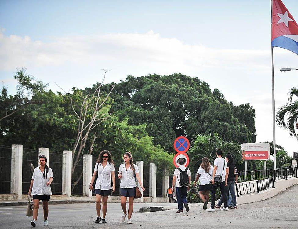 Cuban medical students at a hospital in Havana